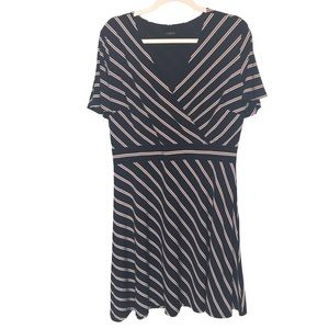 Ann Taylor striped faux wrap dress